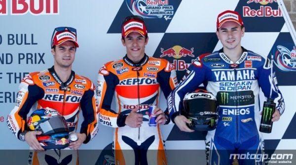 Márquez (centro), Pedrosa (esq) e Lorenzo (dir) são os 3 primeiros no grid de largada no GP das Américas
