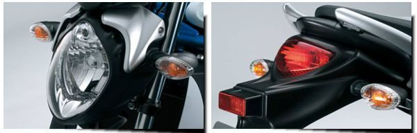 Linhas suaves compoem o perfil da moto, desde o farol até a lanterna traseira