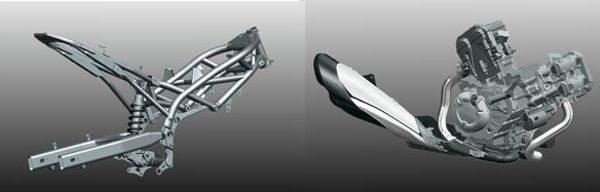 A Gladius tem o chassi tipo treliçado com suspensão mono amortecida e o motor V2 a 90º