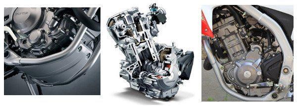 Motor oferece 23 cv, refrigerado a água e com duplo comando no cabeçote; protetor de cárter é providencial para o tipo de moto