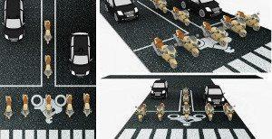 Desenho de como será a área a ser implantada nos cruzamentos mais movimentados