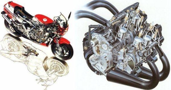Raio X da máquina e do seu motor com duplo virabrequim