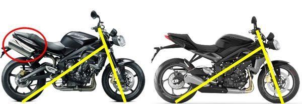 O peso ficou mais concentrado com a colocação do escapamento sob a moto e o esterçamento da direção agora é maior