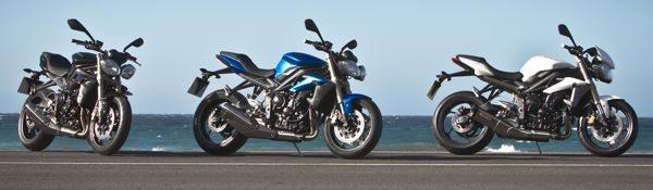A nova Speed Triple vem em três cores: preta, azul e branca