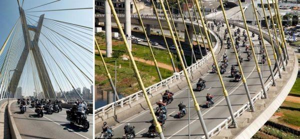 Passagem do desfile pela ponte estaiada
