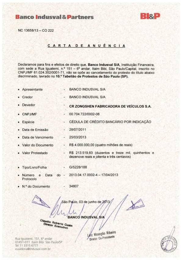 Documento do Banco Indusval com a retirada do protesto contra a CR Zongshen (Kasinski)