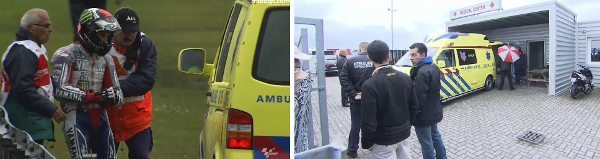 Cuidados com o braço lesionado ao entrar na ambulância e saída para o hospital de Assen