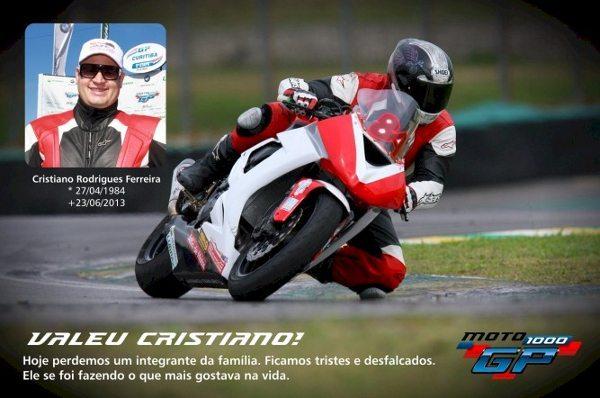O piloto Cristiano Ferreira faleceu em decorrência de acidente no Moto 1000 GP