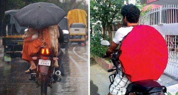 Cena comum nas ruas indianas  inspirou a criação  do Roof for Two - Dobrável, o produto é fácil de transportar