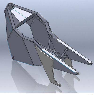 O chassi monocoque é construido em chapas de aço inoxidãvel