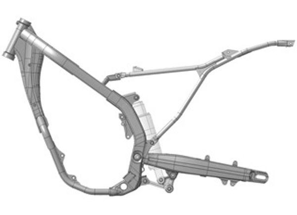 O chassi é em aço tubular, com estrutura que lembra as motos de competição da marca. Berço semi-duplo com duas barras perifericas e sub-chasi destacável para fácil manutenção