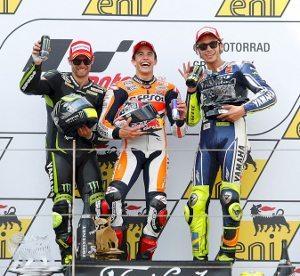 Crutchlow, Marquez e Rossi no pódio da Categoria Rainha em Sachsenring