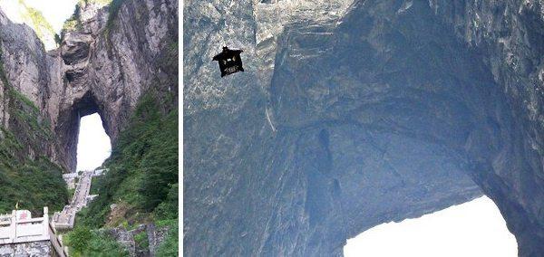 Jebb Corliss passa planando pela Caverna Tianmen com sua roupa-asa