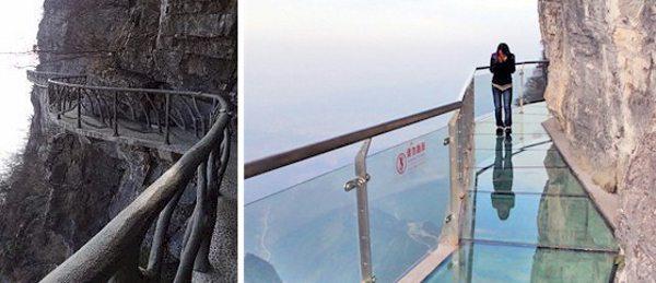 Quilômetros de passarelas que permitem caminhar nas alturas; em alguns pontos o piso é de vidro