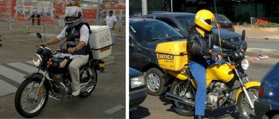 Moto com bauleto, característica dos motofretistas - grandes empresas adotam a moto como ferramenta de trabalho