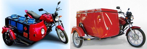Exemplos de sidecar para o transporte de carga