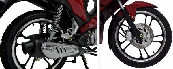"""Rodas 17"""" de liga leve e freio à disco na dianteira são alguns detalhes"""