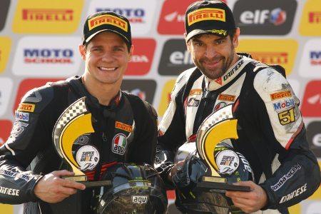 Maico Teixeira e José Luiz Cachorrão, pilotos da Equipe Honda Mobil de Motovelocidade na categoria SuperBike Pro no SuperBike Series Brasil 2013