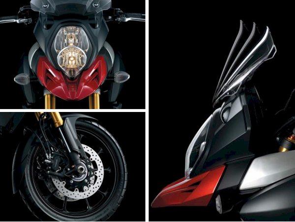 Detalhes do farol, freio ABS e para-brisa regulável