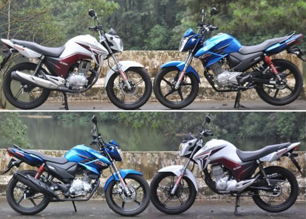 Frente a frente, as duas motos se parecem bastante, a Yamaha com linhas um pouco mais agressivas