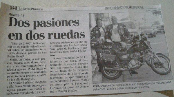 Entrevista no jornal de Bahia Blanca