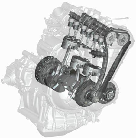 Motor de três cilindros são dispostos no virabrequim a 120 graus