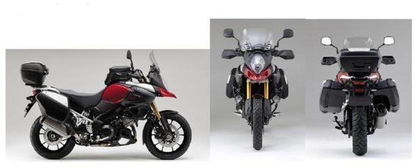 Sistema de bagageiros de três partes são facilmente destacáveis e seu sistema de fixação é integrado às linhas da moto