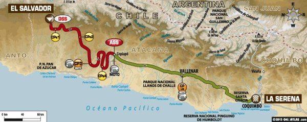 Mapa da décima segunda etapa do Dakar 2014