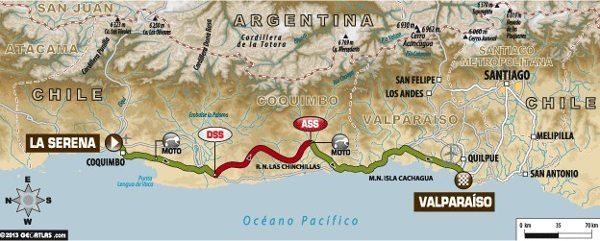 Mapa da décima terceira e última etapa do Dakar 2014