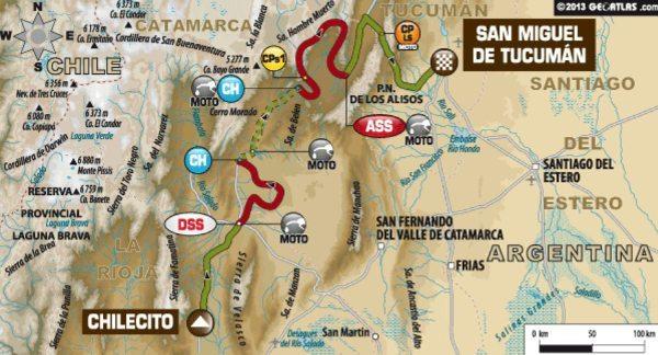 Mapa da quinta etapa do Dakar 2014
