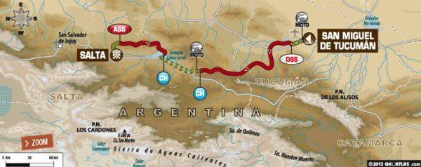 Mapa da sexta etapa do Dakar 2014