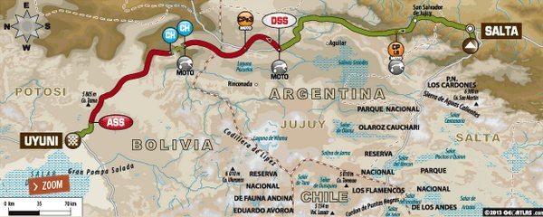 Mapa da sétima etapa do Dakar 2014