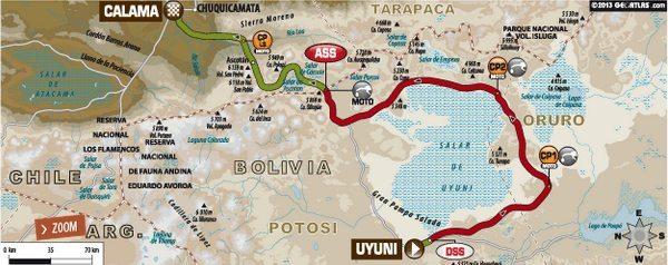Mapa da oitava etapa do Dakar 2014