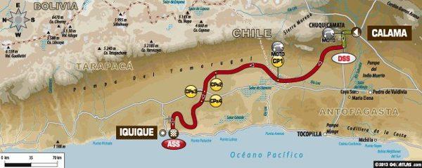 Mapa da nona etapa do Dakar 2014