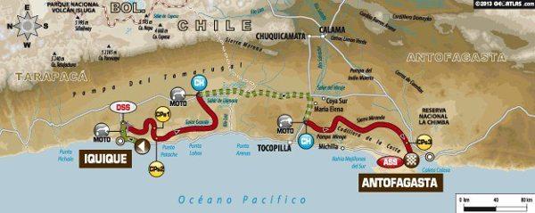 Mapa da décima etapa do Dakar 2014