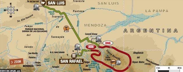 Mapa da segunda etapa do Dakar 2014