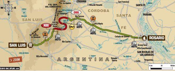 Mapa da primeira etapa do Dakar 2014
