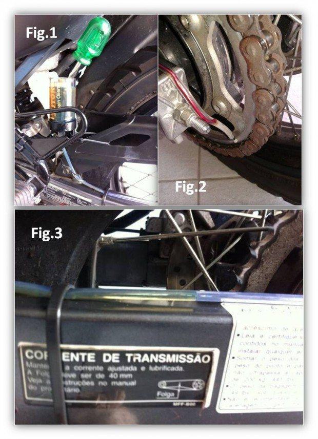Fig -1 - Elevando um pêndulo metálico para facilitar a descida do óleo até o bico. Fig-2 Estado da lubrificação com apenas dois quilômetros após instalada. Fig-3 Imagem do óleo descendo pelo cano em direção ao bico. Primeira sangria após instalado.