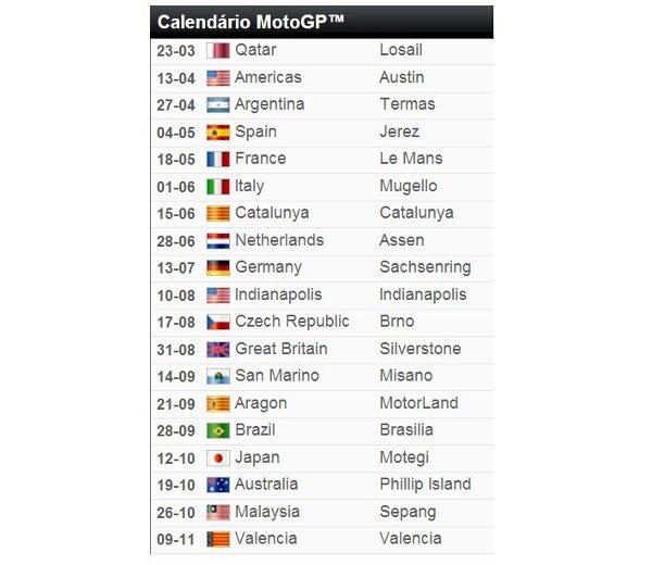 Calendário provisório da MotoGP™ para 2014