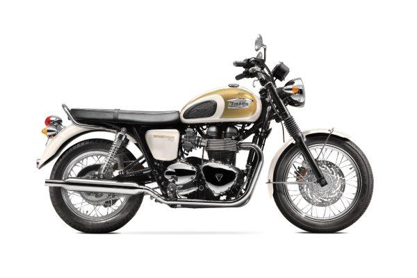 A Triumph Bonneville T100 oferece opção das cores branco com dourado ...