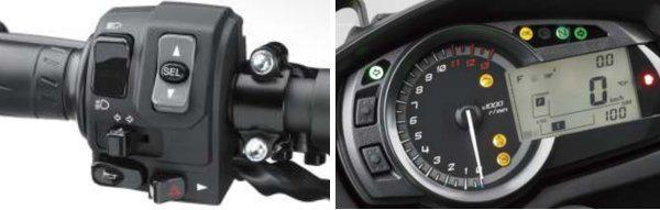 O seletor de funções no punho esquerdo facilita os ajustes. No painel o grande tacômetro analógico domina o visual e na tela LCD se apresentam outras informações