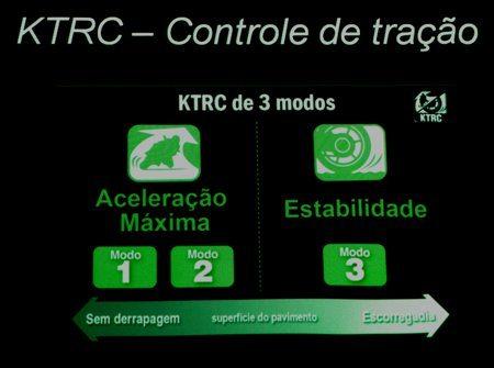 Sistema de controle de tração oferece três modos de intensidade, partindo de um piso bastante escorregadio até um de máxima tração