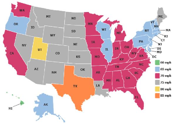 Nos Estados Unidos, cada estado tem seu próprio limite de velocidade estabelecido