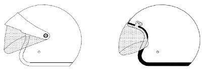 Capacetes abertos com viseira homologados