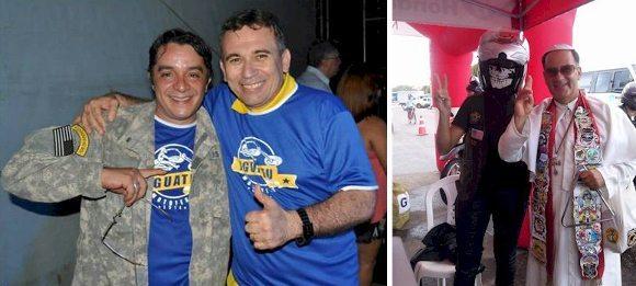 Luis Sucupira e Aderilo Alcântara, motociclista e prefeito de Iguatu, na festa em que o profano e o sagrado são vizinhos e bonzinhos!