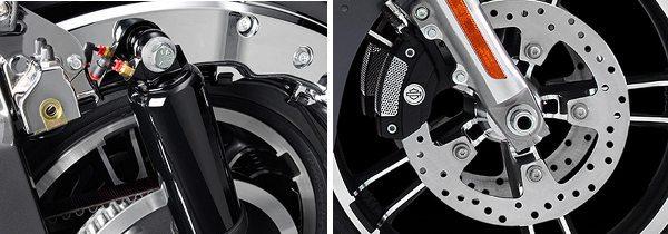 Modernidade e tecnologia dizem presente: ajuste pneumático da pré carga da mola dos amortecedores traseiros e os freios Brembo com pinças de 4 pistões e ABS combinado (Reflex)