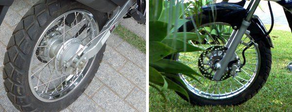 Freio traseiro a tambor é competente mas demanda ajustes constantes - O dianteiro a disco simples oferece boa potência e segurança para motociclistas iniciantes