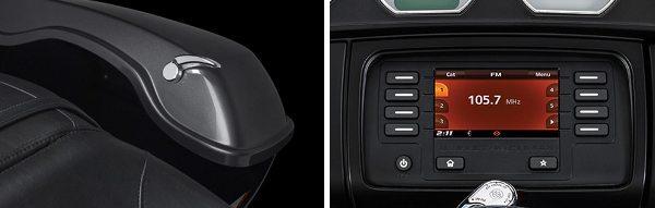 Bolsas laterais (saddlebags) grandes e de fácil abertura; Tela do sistema multimídia com botões grandes facilita acionamento com luvas