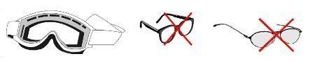 Óculos não permitidos