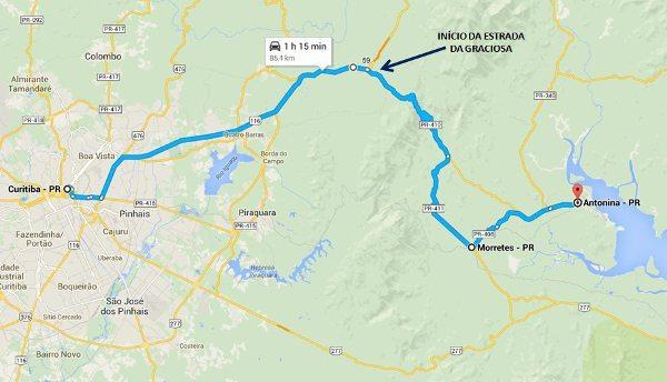 Localização geográfica da Estrada da Graciosa